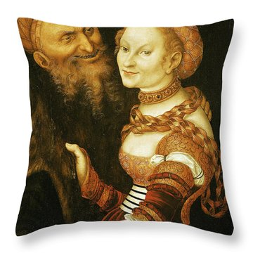 The Courtesan And The Old Man, C.1530 Oil On Canvas Throw Pillow