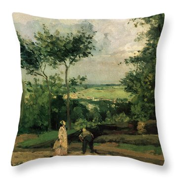 The Courtyard At Louveciennes Throw Pillow by Camille Pissarro