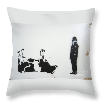 The Cow Throw Pillow by Bela Manson