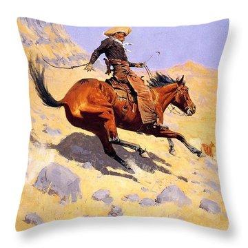 The Cowboy Throw Pillow by Fredrick Remington