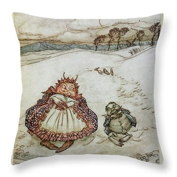 The Crab And His Mother, Illustration From Aesops Fables, Published By Heinemann, 1912 Colour Litho Throw Pillow