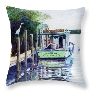 Throw Pillow featuring the painting The Crabby Kim by Roger Rockefeller