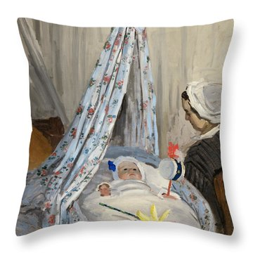 The Cradle Throw Pillow by Claude Monet