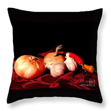 New Orleans Onions, Garlic, Red Chili Pepper Used In Creole Cooking A Still Life Throw Pillow by Michael Hoard