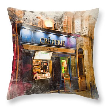 The Creperie Throw Pillow by Evie Carrier