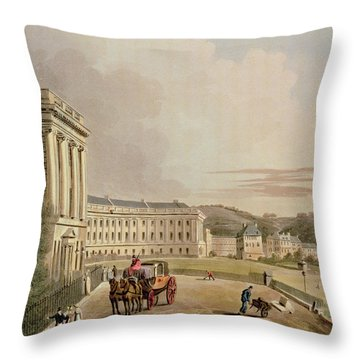The Crescent, Detail Of The Street Throw Pillow by John Claude Nattes