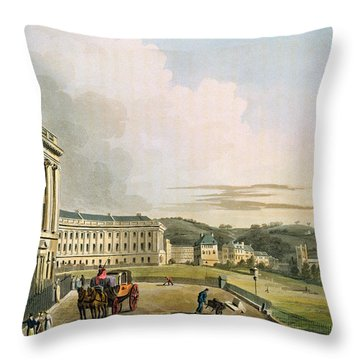 The Crescent, From Bath Illustrated Throw Pillow by John Claude Nattes