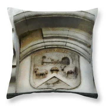 The Crest Of The Christchurch City Council Throw Pillow by Steve Taylor