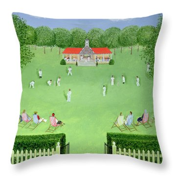 The Cricket Match, 1981 Oil On Board Throw Pillow