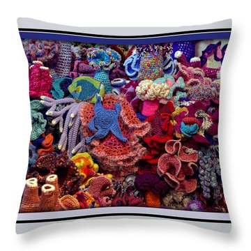 The Crochet Coral Reef Throw Pillow by Farol Tomson