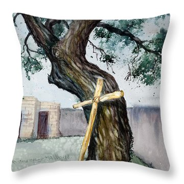 Da216 The Cross And The Tree By Daniel Adams Throw Pillow