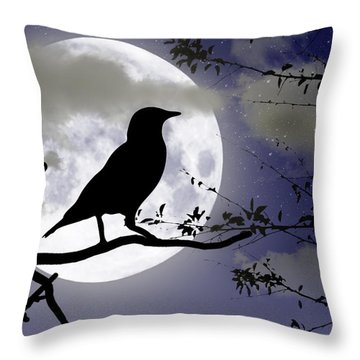 The Crow And Moon Throw Pillow by Brian Wallace