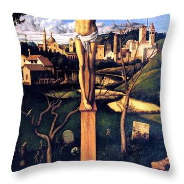 Throw Pillow featuring the painting The Crucifixion 1503 Giovanni Bellini by Karon Melillo DeVega