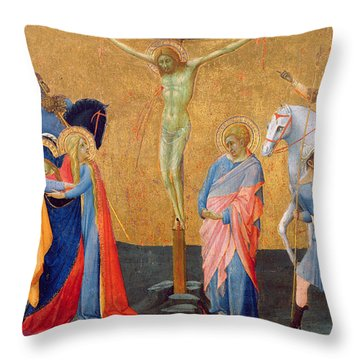 The Crucifixion Throw Pillow by Master of the Madonna of San Pietro of Ovila