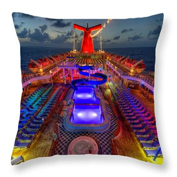 Throw Pillow featuring the photograph The Cruise Lights At Night by Michael Ver Sprill