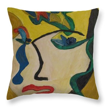 The Crying Girl Throw Pillow