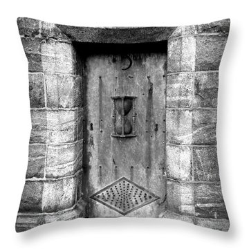 The Crypt Door Throw Pillow by Avis  Noelle