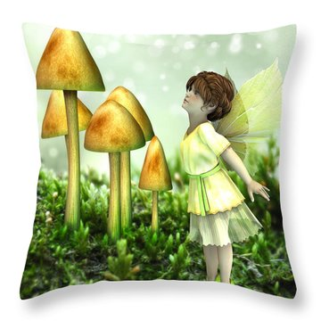 Throw Pillow featuring the digital art The Curious Fairy by Jayne Wilson