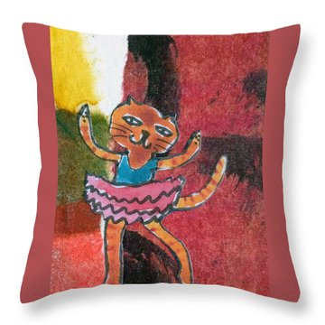 Throw Pillow featuring the mixed media The Curtain Call by Catherine Redmayne