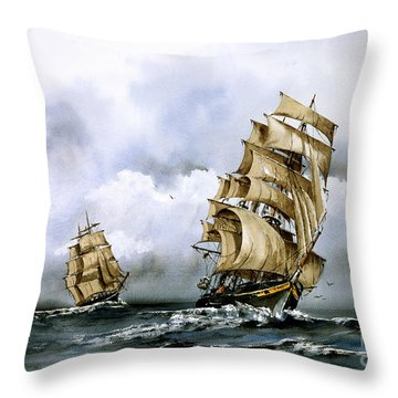 The Cutty Sark And The Red Clipper Throw Pillow