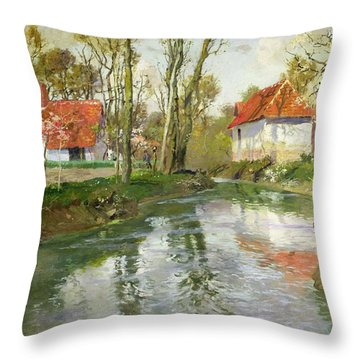 The Dairy At Quimperle Throw Pillow by Fritz Thaulow