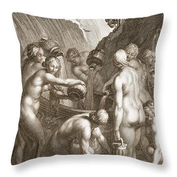 The Danaids Condemned To Fill Bored Throw Pillow by Bernard Picart