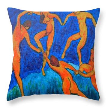 Throw Pillow featuring the painting The Dance by Diana Bursztein
