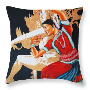 Throw Pillow featuring the painting The Dance Divine Of Odissi by Ragunath Venkatraman