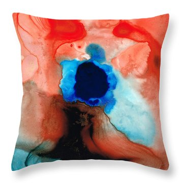 The Dancer - Abstract Red And Blue Art By Sharon Cummings Throw Pillow by Sharon Cummings