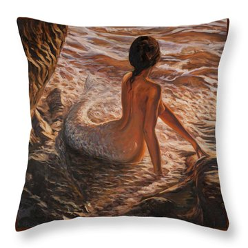 The Daughter Of The Sea Throw Pillow by Marco Busoni