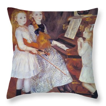 The Daughters Of Catulle Mendes Throw Pillow by Pierre Auguste Renoir