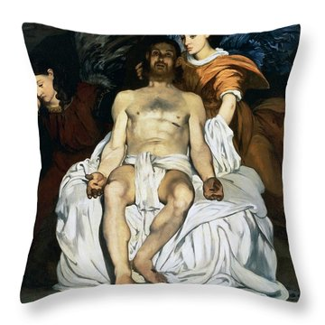 The Dead Christ And Angels Throw Pillow by Edouard Manet