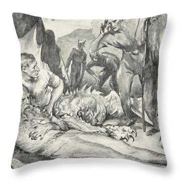 The Death Of Beowulf Throw Pillow by John Henry Frederick Bacon