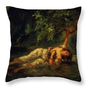 The Death Of Ophelia, 1844 Throw Pillow