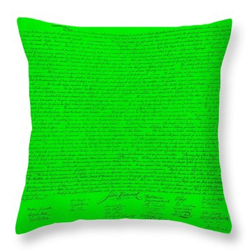 The Declaration Of Independence In Green Throw Pillow by Rob Hans