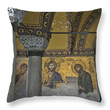 The Deesis Mosaic At Hagia Sophia Throw Pillow by Ayhan Altun