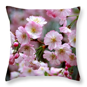 The Delicate Cherry Blossoms Throw Pillow by Patti Whitten