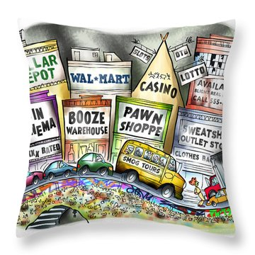 The Delights Of Modern Civilization Throw Pillow by Mark Armstrong
