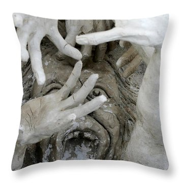 The Descension Of The Consumer  Throw Pillow by Nola Lee Kelsey