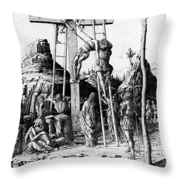 The Descent From The Cross Throw Pillow by Andrea Mantegna
