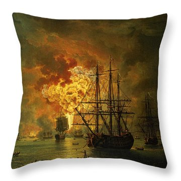 The Destruction Of The Turkish Fleet At The Bay Of Chesma Throw Pillow by Jacob Philippe Hackert