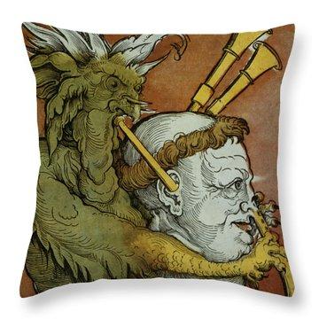 The Devil Throw Pillow by Eduard Schoen
