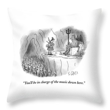 The Devil Speaks To A Bagpiper In Hell Throw Pillow