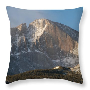 The Diamond Face Of Longs Peak Throw Pillow