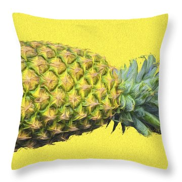 The Digitally Painted Pineapple Sideways Throw Pillow by David Haskett