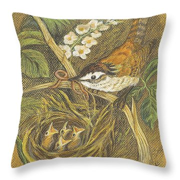 Throw Pillow featuring the drawing The Dinner Bill by Carol Wisniewski