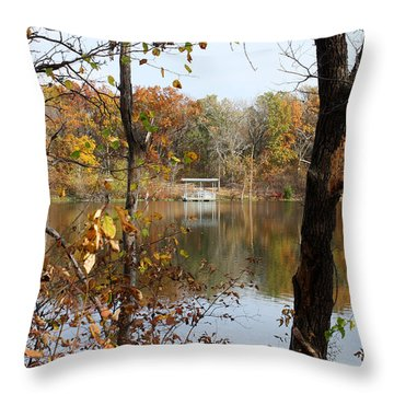 The Dock Across The Lake Throw Pillow by Ellen Tully