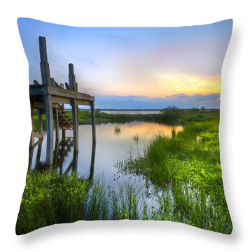 The Dock Throw Pillow by Debra and Dave Vanderlaan
