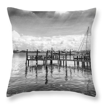 The Dock Throw Pillow by Howard Salmon