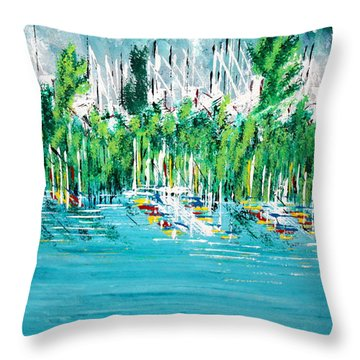 The Docks Throw Pillow by George Riney